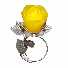 Silver Leaf Stand - Yellow Rose Candle