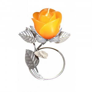 Silver Leaf Stand - Orange Rose Candle