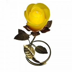 Gold Leaf  Stand - Yellow Rose Candle