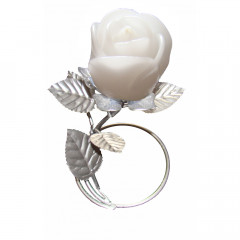 Silver Leaf Stand - White Rose Candle