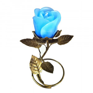 Gold Leaf Stand - Blue Rose Candle