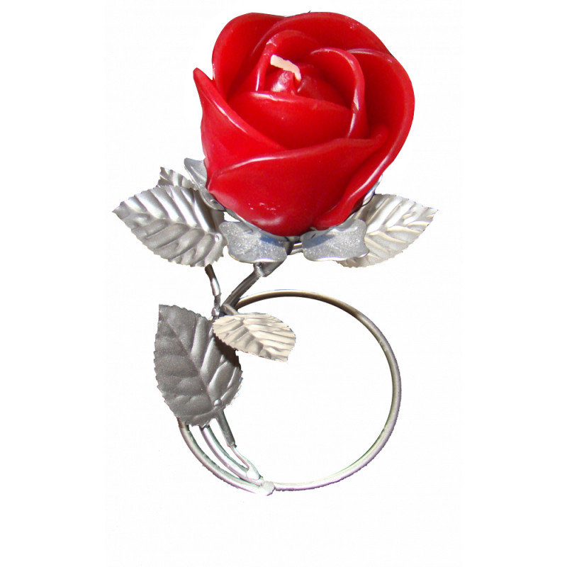 Silver Leaf Stand - Red Rose Candle