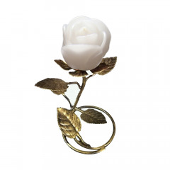 Gold Leaf Stand - White Rose Candle