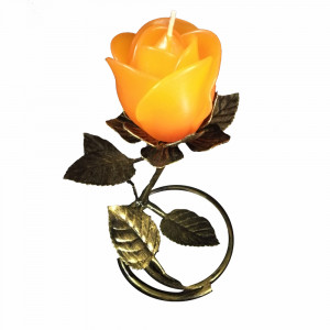 Gold Leaf  Stand - Orange Rose Candle