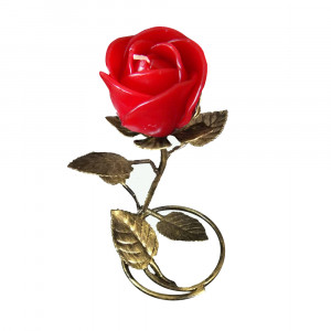 Gold  Leaf  Stand - Red Rose Candle