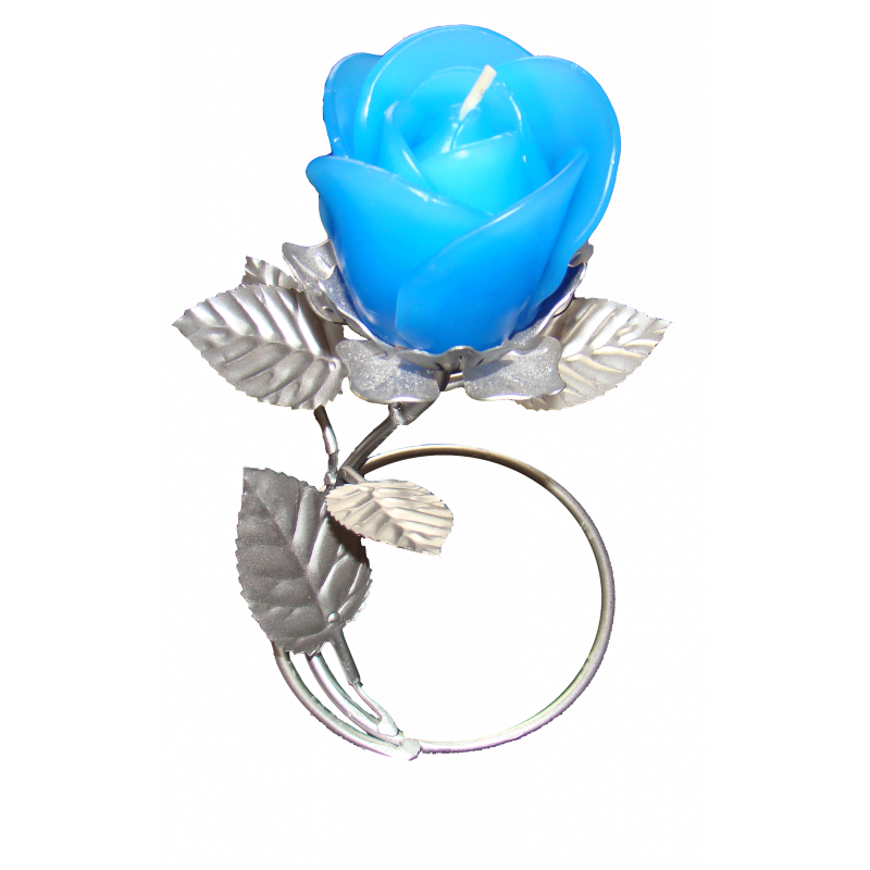 Silver Leaf Stand - Blue Rose Candle